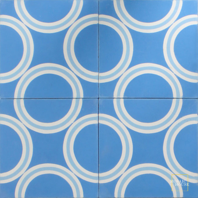 Mosaic House Moroccan tile Noho C11-14-6 Blue White Pacific Blue  cement, encaustic, field, pattern