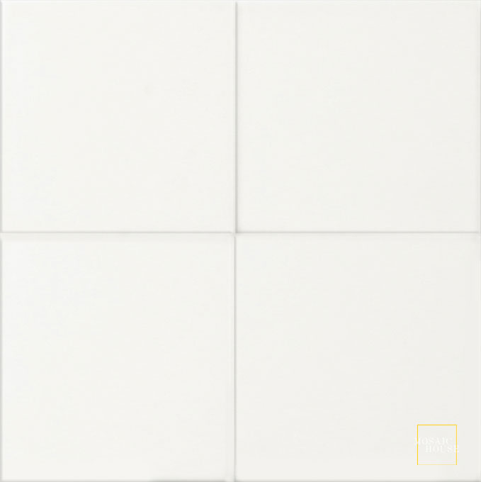 Mosaic House Moroccan tile C14 8x8 White White  solid cement, encaustic, loose, size