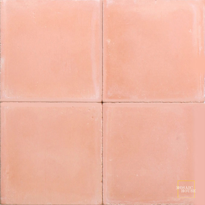 Mosaic House Moroccan tile C19 8x8 Cotta Cotta, pink  solid cement, encaustic, loose, size