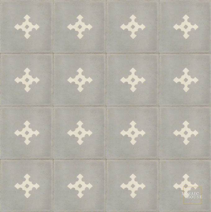 Mosaic House Moroccan tile Stipa C24-14 Silver, gray White  cement, encaustic, field, pattern, classic, simple