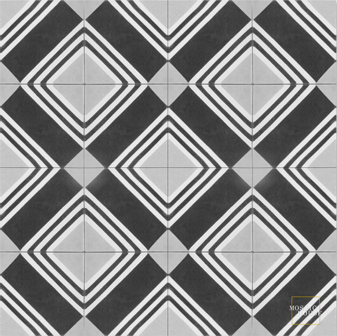 Mosaic House Moroccan tile Tirol C4-14-24 Black White Silver, gray  cement, encaustic, field, pattern, classic, geometric