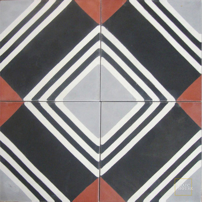 Mosaic House Moroccan tile Tirol C4-14-24-10 Black White Silver, gray Brick Red  cement, encaustic, field, pattern