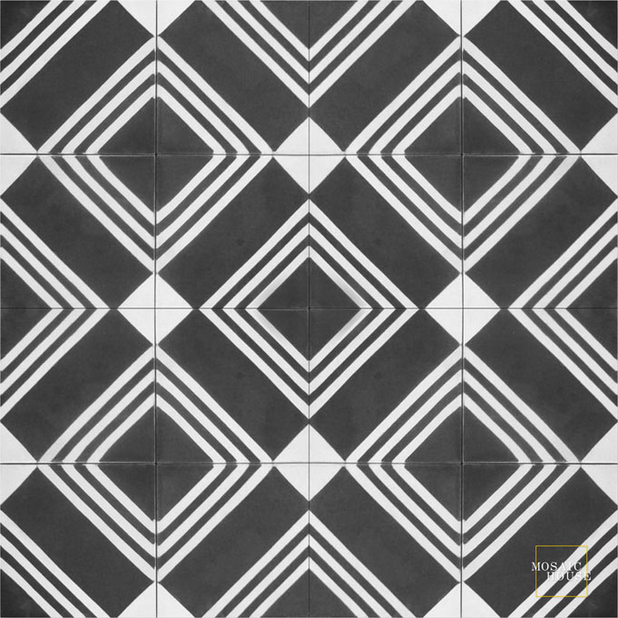 Mosaic House Moroccan tile Tirol C4-14 Black White  cement, encaustic, field, pattern