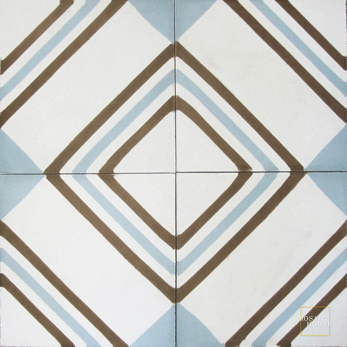 Mosaic House Moroccan tile Tirol C14-5-39 White Chocolate, brown Sky Blue  cement, encaustic, field, pattern