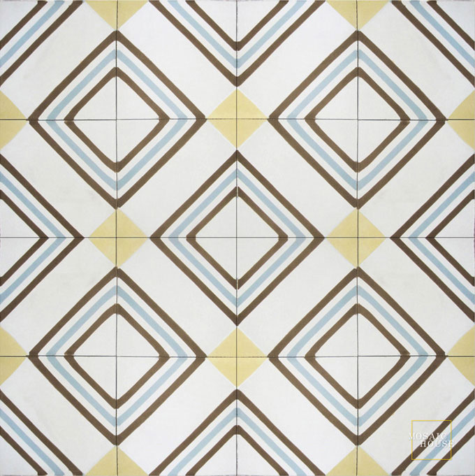 Mosaic House Moroccan tile Tirol C14-2-5-39 White Yellow Chocolate, brown Sky Blue  cement, encaustic, field, pattern