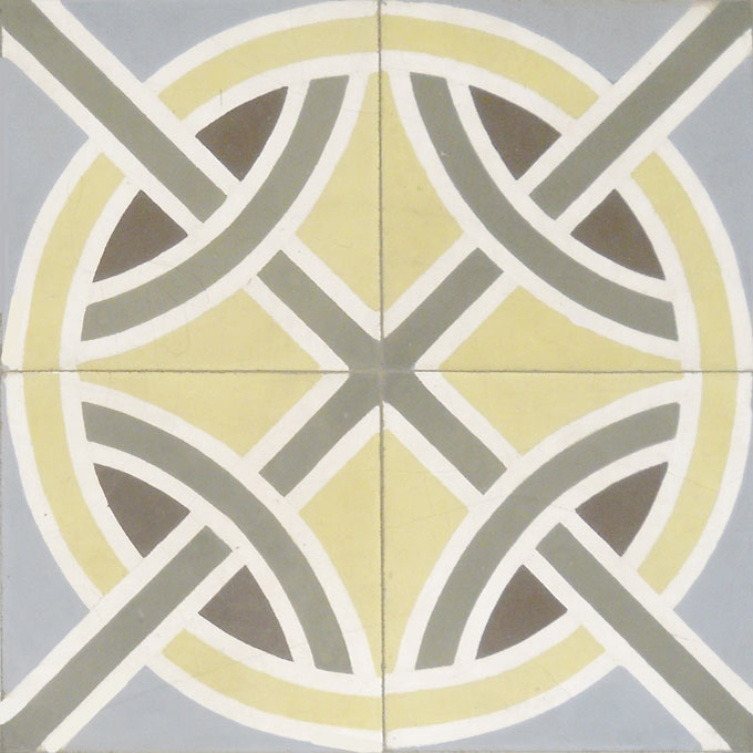 Mosaic House Moroccan tile Trellis C2-34-33-5-14 Yellow Aged Copper, gray Gray Chocolate, brown White  cement, encaustic, field, pattern, circles