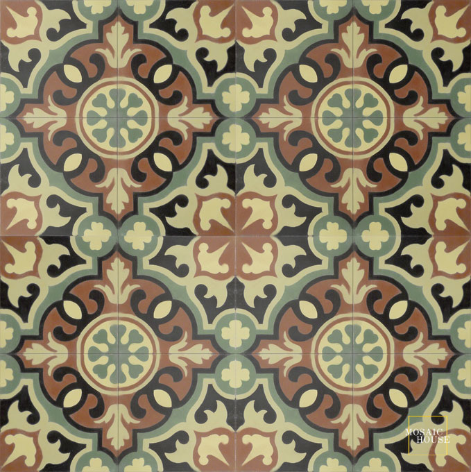 Mosaic House Moroccan tile Versailles C26-4-44-27-35 Brown Black Linen, gray Green Mint, green  cement, encaustic, field, pattern, floral, intricate, traditional, classic