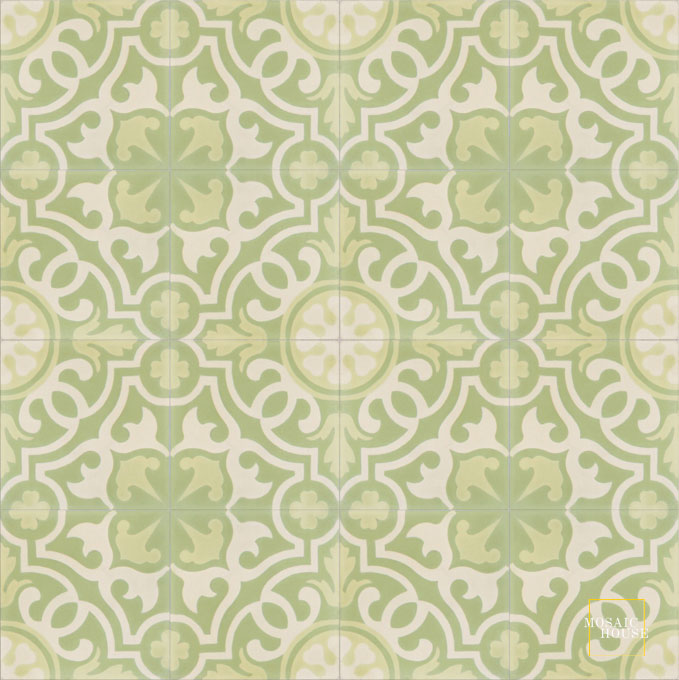 Mosaic House Moroccan tile Versailles C35-3-44 Mint, green Cream, white Linen, gray  cement, encaustic, field, pattern