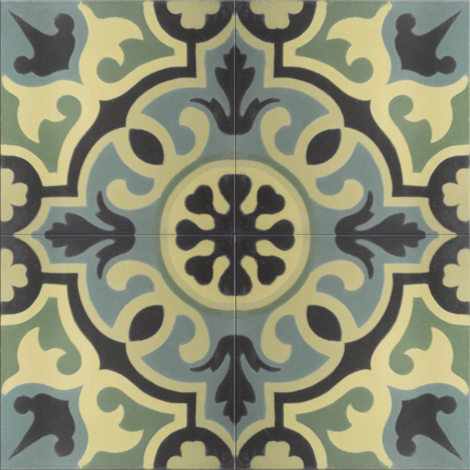 Mosaic House Moroccan tile Versailles C13-27-35-4-44 Evergreen Green Mint, green Black Linen, gray  cement, encaustic, field, pattern