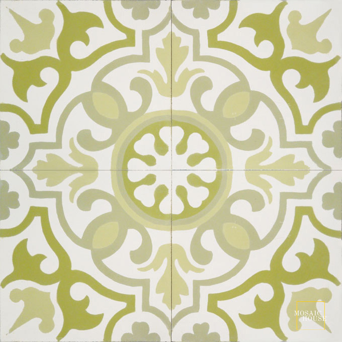 Mosaic House Moroccan tile Versailles C14-37-35-44 White Lime Green Mint, green Linen, gray  cement, encaustic, field, pattern