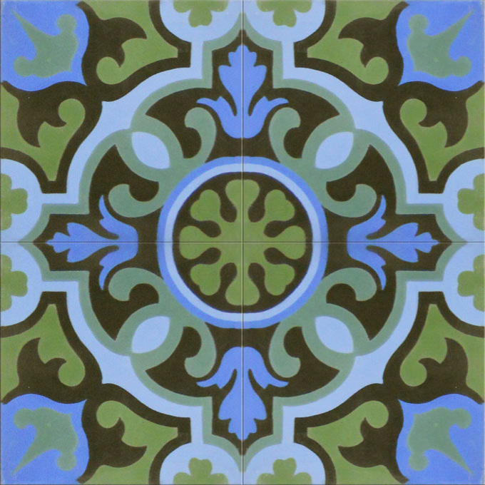 Mosaic House Moroccan tile Versailles C27-6-11-4-13 Green Pacific Blue Blue Black Evergreen  cement, encaustic, field, pattern