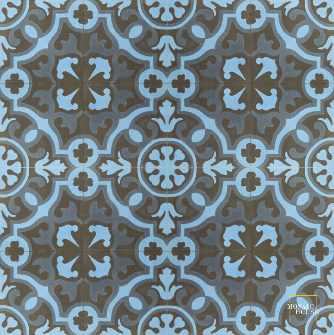 Mosaic House Moroccan tile Versailles C4-11-43 Black Blue Indigo, blue  cement, encaustic, field, pattern