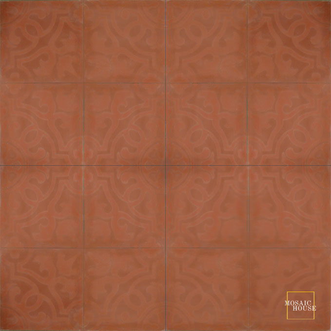 Mosaic House Moroccan tile Versailles C10-10a Brick Red Brick Red  cement, encaustic, field, pattern