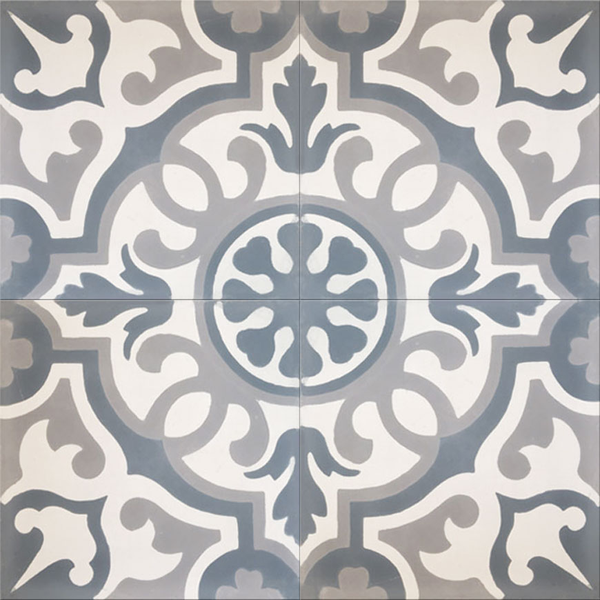 Mosaic House Moroccan tile Versailles C14-24-33 White Silver, gray Gray  cement, encaustic, field, pattern