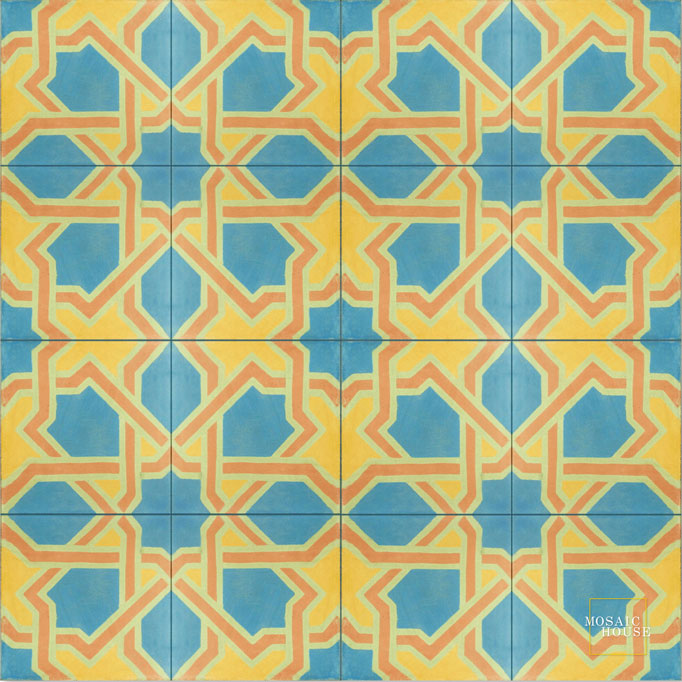 Mosaic House Moroccan tile Vilosa C11-16-15-21 Blue Pale Jade, green Ochre, yellow, orange Pale Salmon, pink  cement, encaustic, field, pattern, traditional, classic