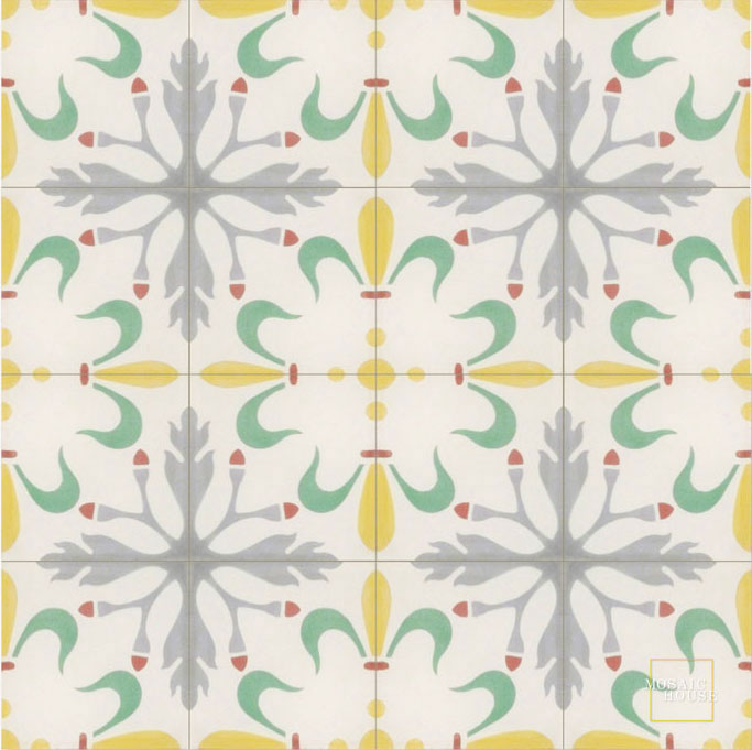 Mosaic House Moroccan tile Viola C14-15-27-24-10 White Ochre, yellow, orange Green Silver, gray Brick Red  cement, encaustic, field, pattern