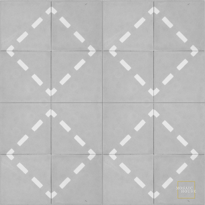 Mosaic House Moroccan tile Walk C24-14 Silver, gray White  cement, encaustic, field, pattern, geometric, modern, simple