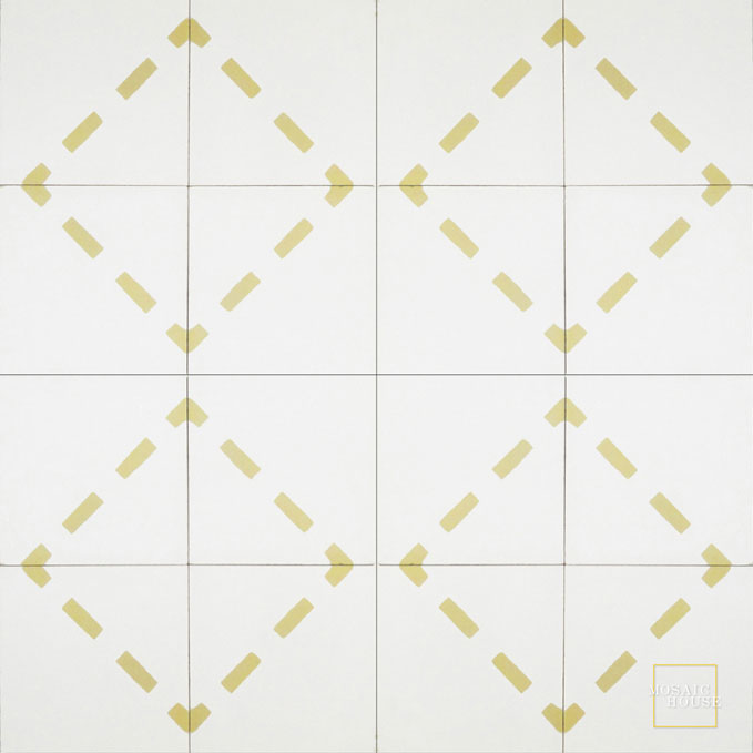 Mosaic House Moroccan tile Walk C14-2 White Yellow  cement, encaustic, field, pattern