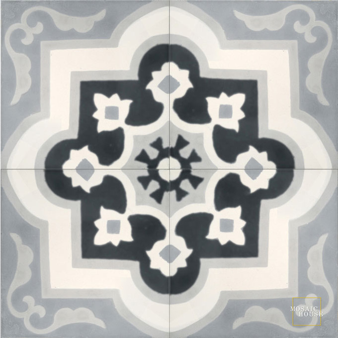 Mosaic House Moroccan tile Waterlily C14-4-33-24 White Black Gray Silver, gray  cement, encaustic, field, pattern, floral, classic, traditional