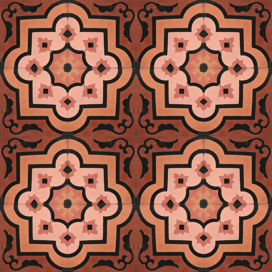 Mosaic House Moroccan tile Waterlily C10-21-19-4-25 Brick Red Pale Salmon, pink Cotta, pink Black Indian Red  cement, encaustic, field, pattern