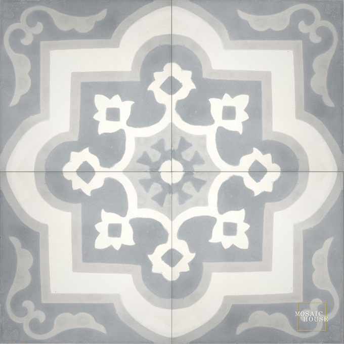 Mosaic House Moroccan tile Waterlily C14-33-24 White Gray Silver, gray  cement, encaustic, field, pattern