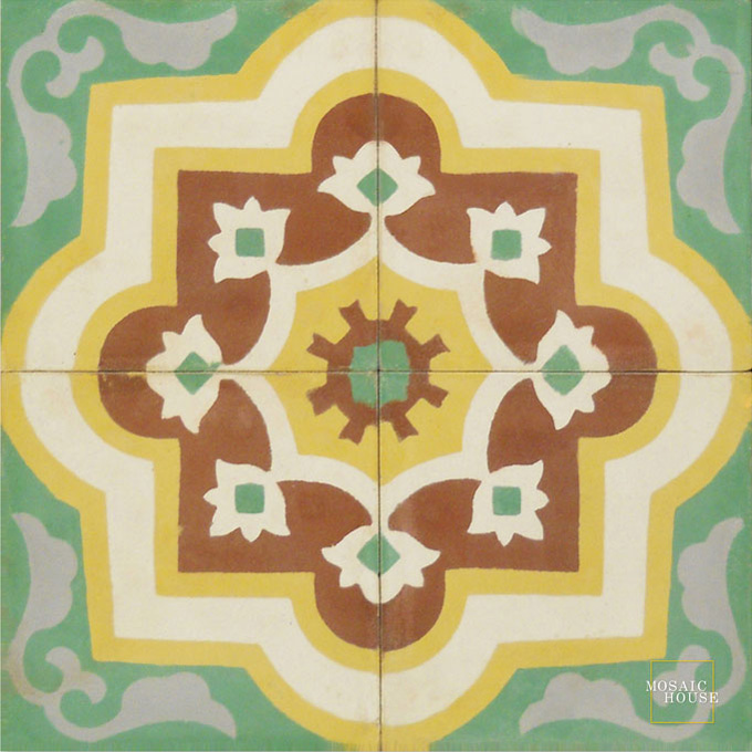 Mosaic House Moroccan tile Waterlily C30-26-14-15-24 Spring Green Brown White Ochre, yellow, orange Silver, gray  cement, encaustic, field, pattern
