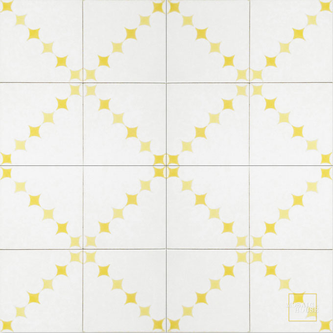 Mosaic House Moroccan tile Wazo C14-2-15 White Yellow Ochre, yellow, orange  cement, encaustic, field, pattern