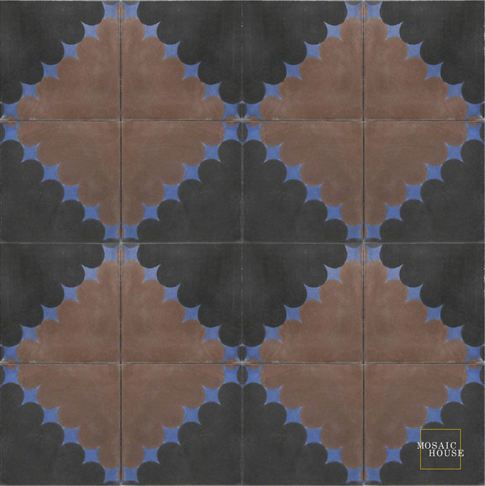 Mosaic House Moroccan tile Wazo C4-5-43 Black Chocolate, brown Indigo, blue  cement, encaustic, field, pattern