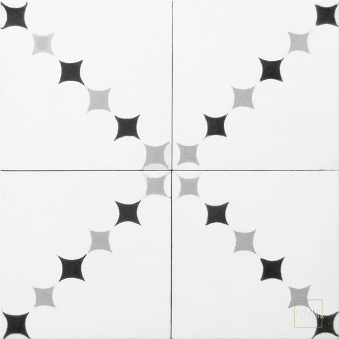 Mosaic House Moroccan tile Wazo C14-24-4 White Silver, gray Black  cement, encaustic, field, pattern
