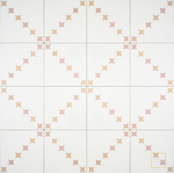Mosaic House Moroccan tile Wazo C14-21-7 White Pale Salmon, pink Pale Orange  cement, encaustic, field, pattern