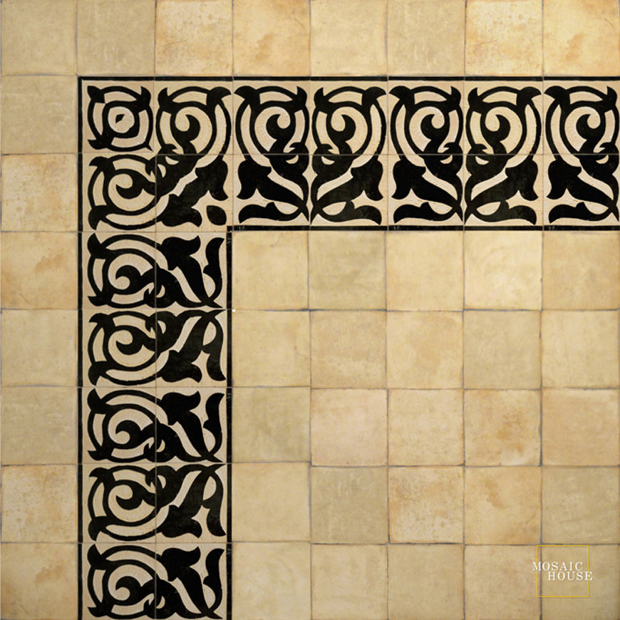 Mosaic House Moroccan tile Giselle 6 Chiseled Black  chiseled border