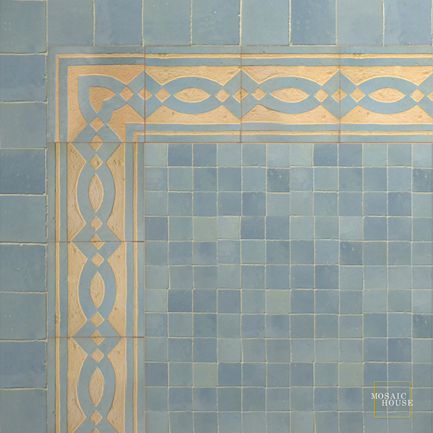 Mosaic House Moroccan tile Zoe 17 Chiseled Sky blue  chiseled border