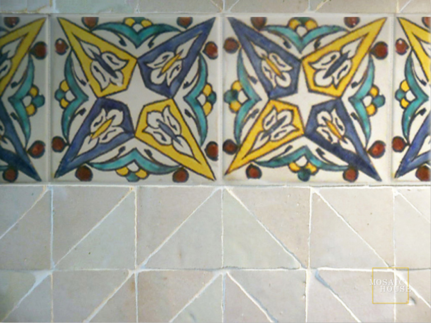 Mosaic House Moroccan tile Bijoux Multi   solid hand painted
