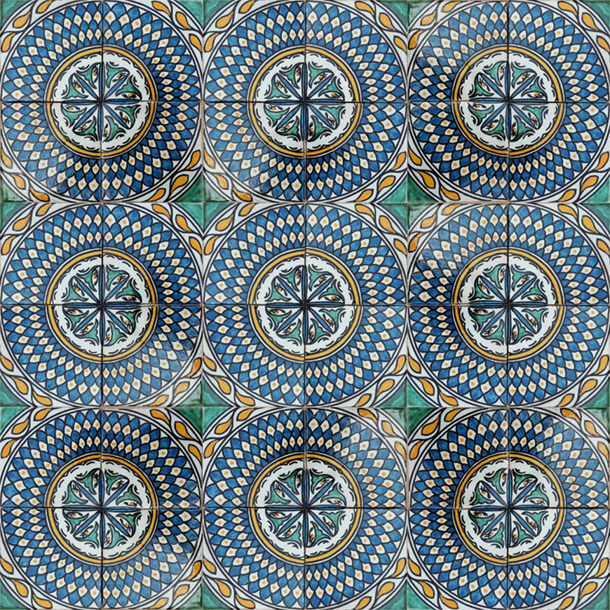 Mosaic House Moroccan tile Dahlia Multi  solid hand painted