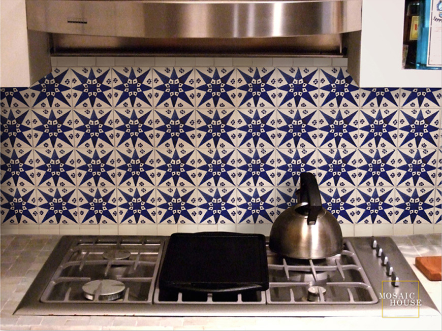 Mosaic House Moroccan tile Etoile Blue 1-15 White Cobalt Blue  hand painted