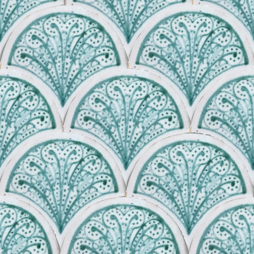 Mosaic House Moroccan tile Susie 1-12 White Light Green  hand painted