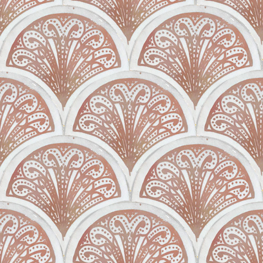 Mosaic House Moroccan tile Susie 1-21 White Pink  hand painted