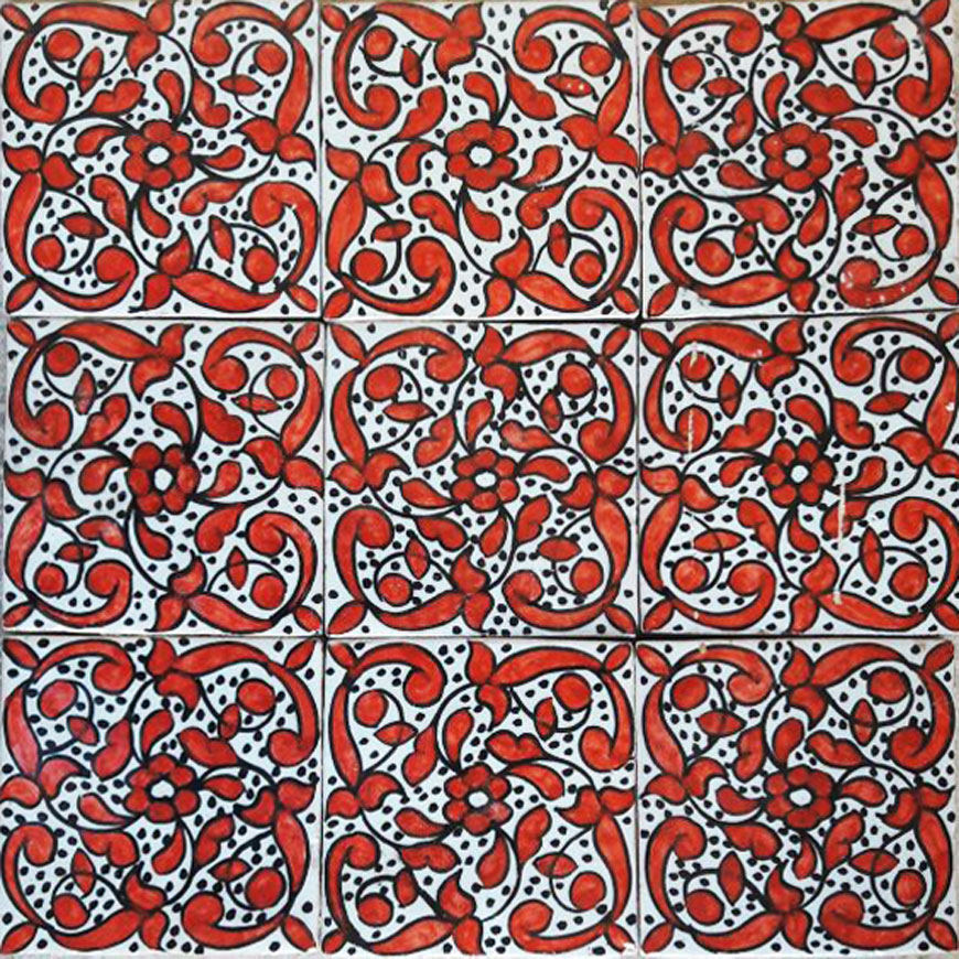 Mosaic House Moroccan tile Indira 1-7 White Red  hand painted