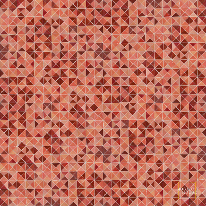 Mosaic House Moroccan tile Azur MRB 4-7-21 Rust Red Pink  zellige, mosaic, zellij, field, pattern, glaze, simple