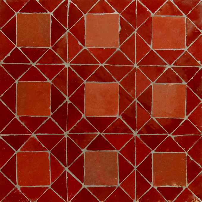 Mosaic House Moroccan tile Bassat 4-7 Rust Red  zellige, mosaic, zellij, field, pattern, glaze, simple, classic