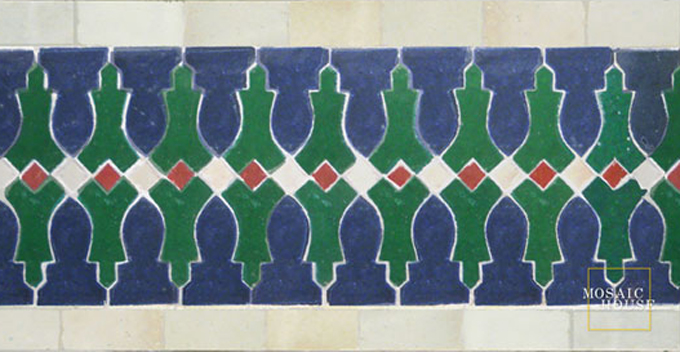Mosaic House Moroccan tile Ank 15-10-1-7 Cobalt Blue Green White Red  zellige, mosaic, zellij, border, glaze, intricate, classic