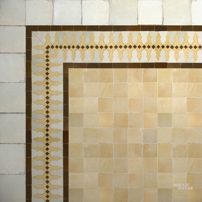 Mosaic House Moroccan tile Ank 1-14-19 White Natural, Unglazed, Terracotta Brown  zellige, mosaic, zellij, border, glaze