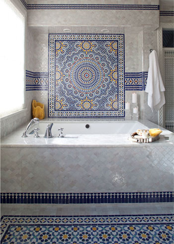 Mosaic House Moroccan tile Dazzle BV 1-15-18 White Cobalt Blue Yellow  zellige, mosaic, zellij, border, glaze, intricate, classic