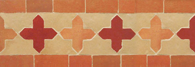 Mosaic House Moroccan tile Kmarshoun Cross 21-22-11 Pink Light Pink Beige  zellige, mosaic, zellij, border, glaze, traditional, simple