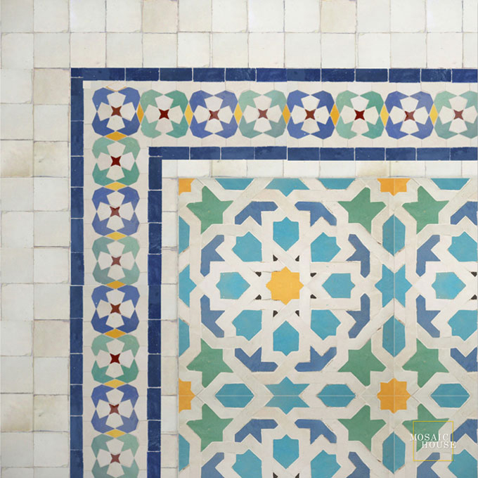 Mosaic House Moroccan tile Mshita 12-13-15-1-18-7 Light Green Light Turquoise Cobalt Blue White Yellow Red  zellige, mosaic, zellij, border, glaze, intricate, traditional