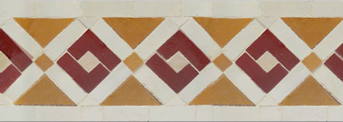 Mosaic House Moroccan tile Rif 1-7-8 White Red Ochre  zellige, mosaic, zellij, border, glaze, traditional