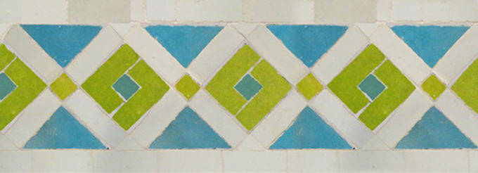 Mosaic House Moroccan tile Rif 1-5-13 White Lime Green Light Turquoise  zellige, mosaic, zellij, border, glaze