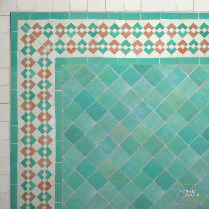 Mosaic House Moroccan tile Sarout D 12-21-1 Light Green Pink White  zellige, mosaic, zellij, border, glaze, traditional, classic