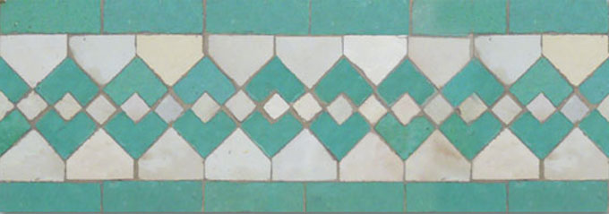 Mosaic House Moroccan tile Sarout S 1-12 White Light Green  zellige, mosaic, zellij, border, glaze
