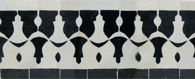 Mosaic House Moroccan tile Sharafa C 1-6 White Black  zellige, mosaic, zellij, border, glaze, classic, traditional, intricate